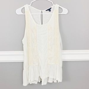 American Eagle Mesh Sleeveless Cream Top
